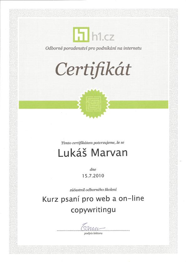 Certifikát od H1.cz potvrzující absolvování Kurzu psaní pro web a on-line copywritingu