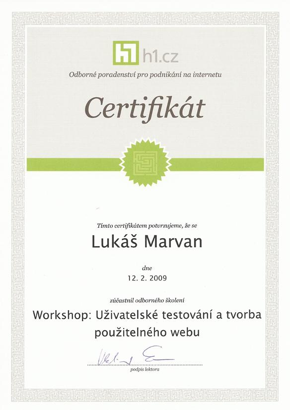 Certifikát od H1.cz potvrzující absolvování workshopu Uživatelské testování a tvorba použitelného webu
