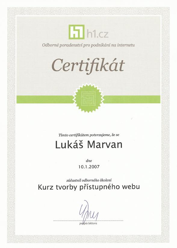 Certifikát od H1.cz potvrzující účast na Kurzu tvorby přístupného webu